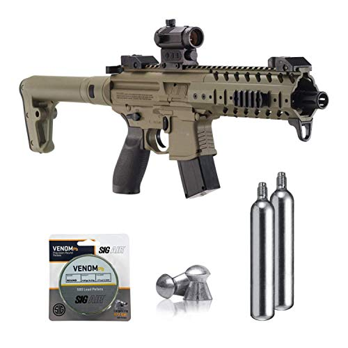 SIG Sauer MPX .177 Cal CO2 Powered Air Rifle with CO2 90 Gram (2 Pack) and 500 Lead Pellets Bundle (FDE, Red Dot)