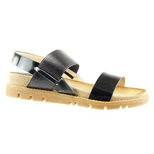 Angkorly - Chaussure Mode Sandale Mule femme brillant multi-bride lanière Talon compensé 4 CM - Noir
