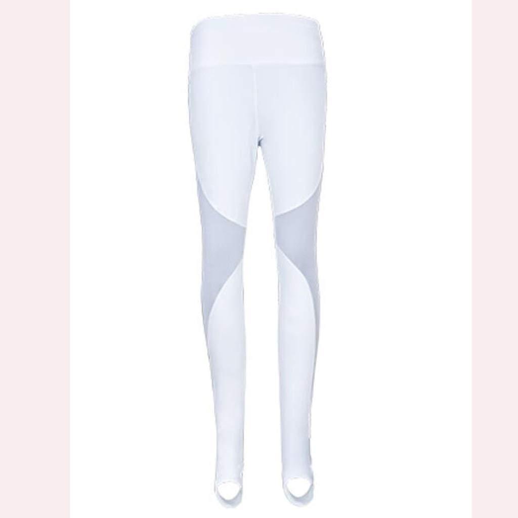 blanc petit Asnvvbhz Pantalons de Yoga Pantalons de Yoga pour Femmes Stirrup Leggings Sport Gym FonctionneHommest Collants d'entraîneHommest Maillots d'épaule en Maille Pantalon de Sport (Couleur   blanc, Taille   S)