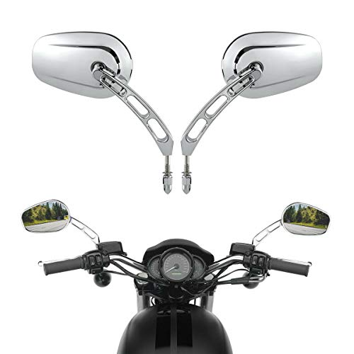 TCMT Pair of Motorcycle Chrome Rear View Mirrors Fits For HARLEY DAVIDSON FLHT FLHR Road King FLHYUC FLTRX FLSTC FXDB Dyna FXDF FLSTF FLTRU Road Glide Ultra