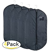 HOMFA Garment Bag Covers Folding Zipped Dark Blue Suit Bag with Clear Window and 2 Handles for Storage or Travel,Pack of 4 ,100*60 CM