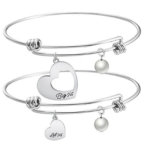 KUIYAI Big Sis Little Sis 2 Pieces Matching Heart Bracelet Set (Big Little Sis Bracelet Set) -