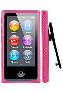 HHI Rubber Quick Clip Case for iPod Nano 7th Generation - Pink (Package include a HandHelditems Sketch Stylus Pen)