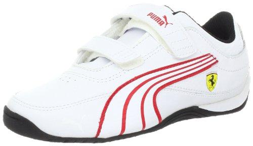PUMA Drift Cat 4 Ferrari Leather V Kids Sneaker (Infant/Toddler/Little Kid/Big Kid),White/White/Rosso Corsa,1.5 M US Little Kid (Puma Cat Drift Ferrari)
