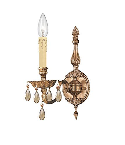 Crystorama 2501-OB-GT-MWP Crystal Accents One Light Sconces from Novella collection in Brassfinish, 8.50 inches