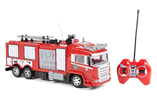 World Tech Toys Fire Rescue Water Cannon RTR Remote Control Fire Truck, Red, 12.5 x 3.75 x - Remote Rtr Trucks Control