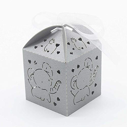 50pcs Grey Elephant Favor Boxes Laser Cut Elephant Baby Shower Gift Favor Boxes 1st Baby Birthday Bomboniere Favors Candy ()