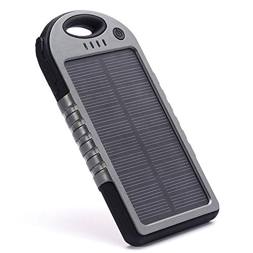 Portable Power Bank, Waterproof Solar Charger 5000 mAh with Dual USB Ports & Flashlight Battery Pack for All Mobile Phones (Grey)