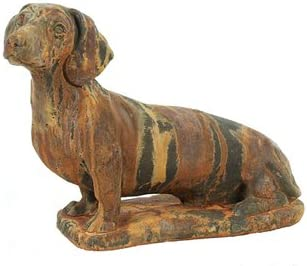 Solid Rock Stoneworks Large Dachshund Stone Statue 14″ Tall Rust Color