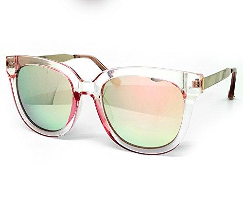 O2 Eyewear 6714 Premium Oversize Womens Mens Mirror Funky Retro Fashion Candy Sunglasses (METAL ARM, PINK/ROSE - Case Glasses Funky