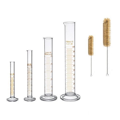 Thick Glass Graduated Measuring Cylinder Set 5ml 10ml 50ml 100ml Glass with Two - Measure Glasses