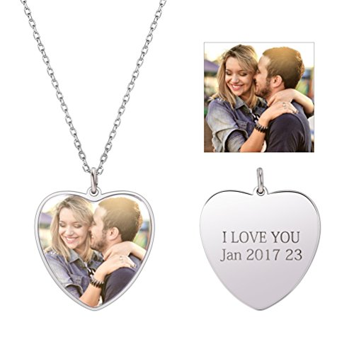 """Heart Custom Photo Necklace Free Text Engraving 925 Sterling Silver Happy Birthday Baby Heart Shaped Pendant with Chain 18"""" Personalized Jewelry, Full Color Picture Customize"""
