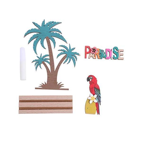 41AJlhS2%2BRL Amosfun Aufsteller Holz Schriftzug Papagei Kokosnussbaum Paradise Holzschrift Tropischer Stil Desktop Ornament DIY…