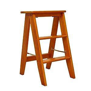 LIXIONG Tabouret d'échelle Chaises Pliantes Multifonctions Trois-Couches marches Bois Massif, 3 Couleurs, 34 * 45 * 62cm (Couleur : Light Brown)