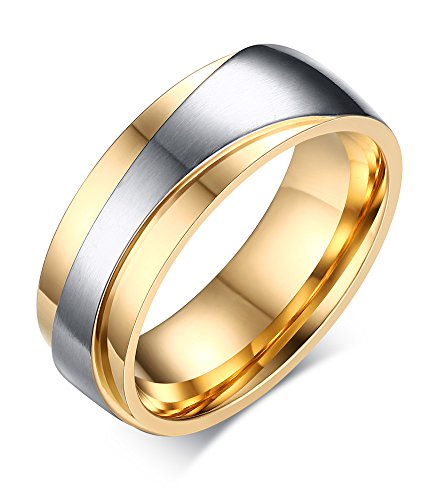 Stainless Steel 18k Gold Plated Wedding Engagement Band Couple Ring - 9