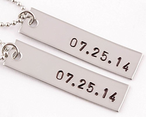 2 Piece Anniversary Date Necklaces | Couples Jewelry |...