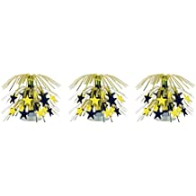 "Beistle S54669BKGDAZ3 Star Mini Cascade Centerpieces 7.5"" (Black/Gold), Pack of 3"
