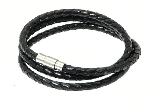 Neptune Giftware Plaited Black Leather Strap Wrap Around Leather Bracelet - (MAX WRIST SIZE 19cm) - Wraps Around The Wrist 3 Times - BLACK LEATHER