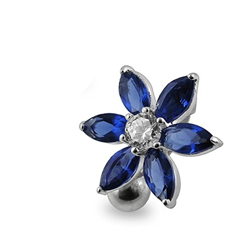 Dark Blue Gemstone Fancy Flower Reverse Bar 925 Sterling Silver with Stainless Steel Belly Button (Designer Sterling Silver Belly Button Ring)