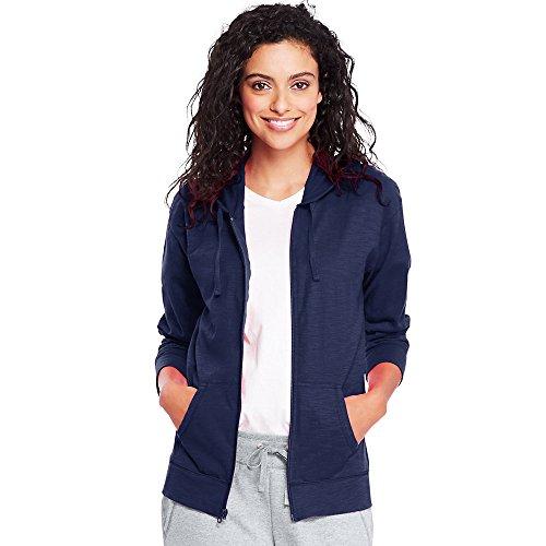Hanes Womens Slub Jersey Hoodie O9249_Navy_L (Knit Hoodies For Women)