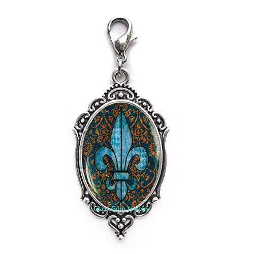 Fleur de lis Lobster Clasp, Fleur de lis Zipper Pull, Fleur de lis Jewelry, Heraldry Jewelry Royal Heraldic Sign,Q0068 (Fleur De Lis Zipper Pull)