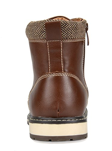 Bruno Marc Men's Apache-03 Dark Brown Faux Fur Lined Motocycle Combat Oxford Ankle Boots Size 13 M US
