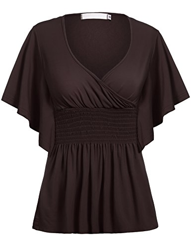Beyove Women Slimming V-Neck Short Batwing Sleeve Smocked Empire Waist Tunic Top Dark Brown S