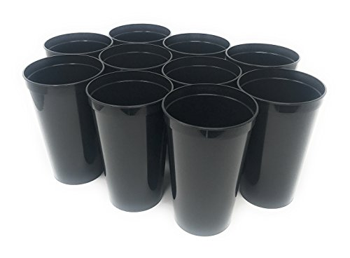 CSBD 10 Pack Blank 22 oz Plastic Stadium Cups Bulk - Made In USA, Reusable or Disposable, Great For Customization, Monograms, Marketing, DIY Projects, Weddings, Parties, Events (10, Black)