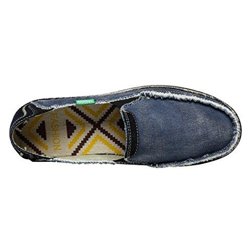 Sun Lorence Uomo Tela Jeans Scarpe Estate Casual Traspirante Denim Lavato Slip On Fashion Flats Fannullone Blu Scuro