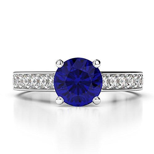 Or blanc 18carats 1CT G-H/VS sertie de diamants Saphir de coupe ronde et bague de fiançailles Agdr-1219