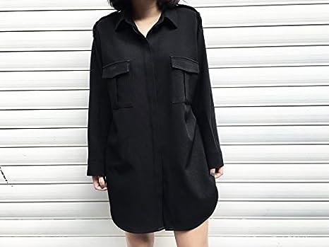 XXIN Minimalista Anorak una Gran Camisa Camisa Falda Negra Delgada ...
