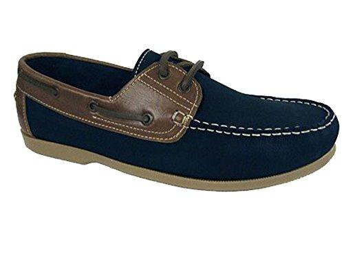 Shoreside Hombre cuero de imitación zapatos del barco Azul Marino (suela Verde Oliva)