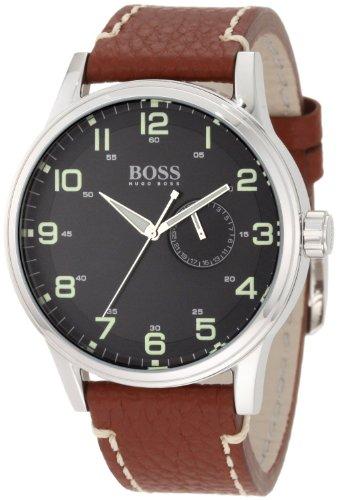 Hugo Boss Black Dial Stainless Steel Leather Quartz Men's Watch 1512723