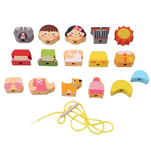 Dolland String Along Shapes Wooden Block Toddler Lacing Toy Wooden Educational Toy,People - Shapes People Wooden