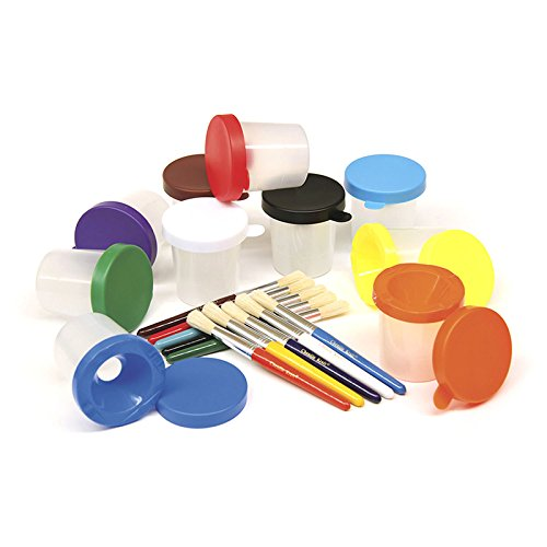 CHENILLE KRAFT COMPANY PAINT CUPS & BRUSHES SET 10 CUPS W/ (Set of 3)