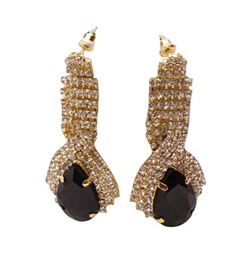 Lanhui 1Pair Earrings for Women Fashion, Lady Luxury Elegant Rhinestone Big Drop Earring Vintage (Black, 3x5cm/1.18