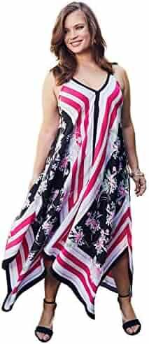 6a58c4cd343 Roamans Women s Plus Size Scarf-Print Maxi Dress with Handkerchief Hem