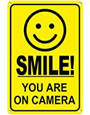 Smile You're on Camera Sign 8 x 12 Inch Video Surveillance Security Camera Metal Sign for Home, Business, Driveway Alert, CCTV