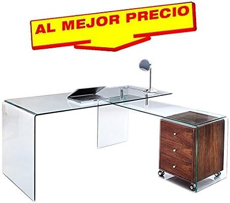 CONJUNTO DE MESA DE OFICINA Y ESTUDIO ESCRITORIO CRISTAL CURVADO ...