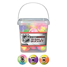 Franklin Sports NHL Street Hockey Ball Bucket 15-Piece, Assorted Colors