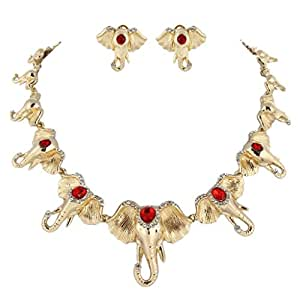 EVER FAITH Lots Elephant Necklace Earrings Set Austrian Crystal Red Gold-tone