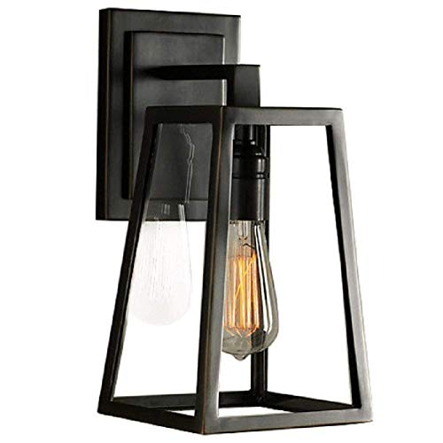 SUSUO Lighting Outdoor Wall Sconce Simple Design Rectangular Lantern Light Fixture Glass Wall Lights Lamp Black Finish