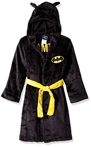 DC Comics Big Boys' Batman Velvet Fleece Hooded Robe, Black, Large