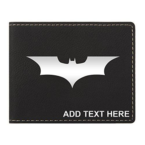Personalized Engraved Batman Dark Knight Vegan Leather Wallet, Blk & (Batman Personalized)