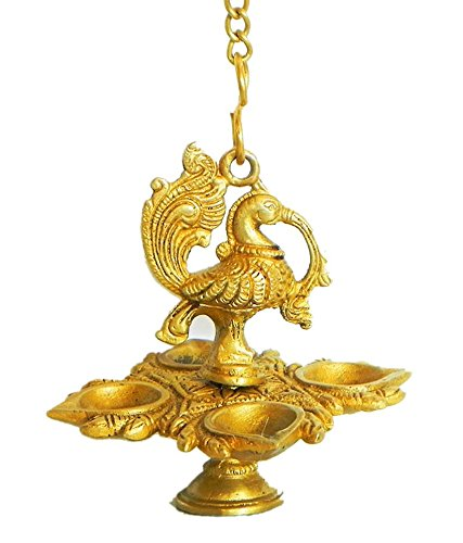 Brass Peacock (Zap Impex Traditional Peacock 4 in 1 Brass Hanging Diya with 15 Inch Chain | Deepak | Oil Lamp | Home Décor | Spritiual Gift)