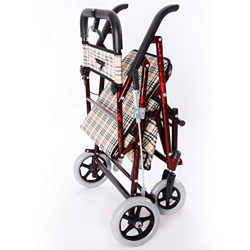 Milisome World Folding Shopping Cart for The Elderly, Four-Wheeled Walker Can Push or Sit, Old Man Trolley (Color : Wine red) by Milisome World (Image #1)