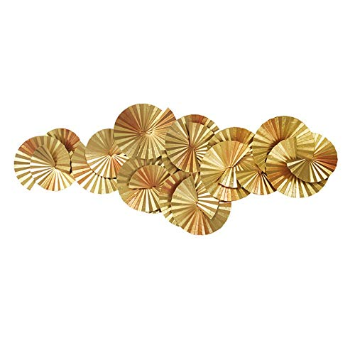 FENFOUBA Metal Wall Art Deco Sculpture - Gold Fan-Shaped Overlay 3D Home Wall Hanging, Horizontal and Vertical Can Be Hung