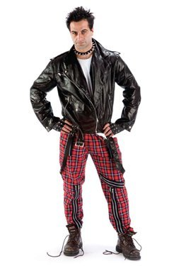 British Tartan Punk Bondage Trousers for men. Will fit 30 to 40 inch waist.