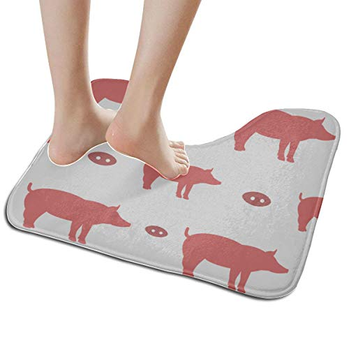 Non Slip Bath Mats for Kids Pattern Pig Chinese Zodiac U-Shaped Non Slip Absorbent Thick Soft Washable Bath Rug Small
