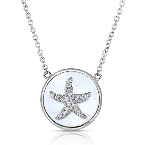 (Ocean Side Sterling Silver CZ Starfish Necklace with Mother of Pearl Starfish Medallion Pendant, 16
